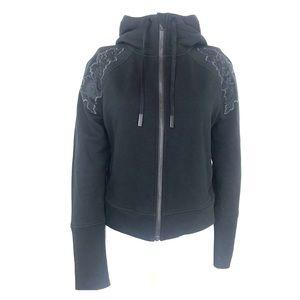 Lululemon Black Floral Appliqué Hoodie Jacket